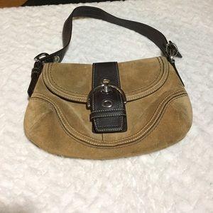 Tan suede Coach purse